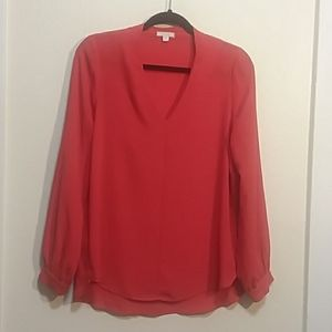 Coral Red Silk Blouse